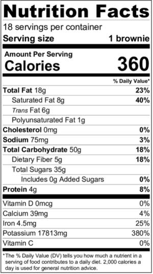 Vegan Paleo Chocolate Brownies Nutritional Facts