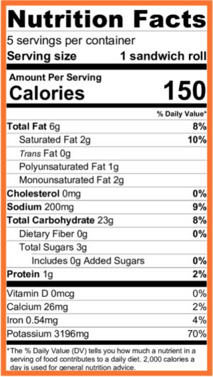 Paleo Vegan Bread Nutritional Facts